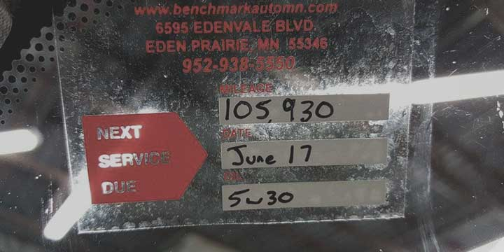 benchmark auto service eden prairie oil change reminder sticker